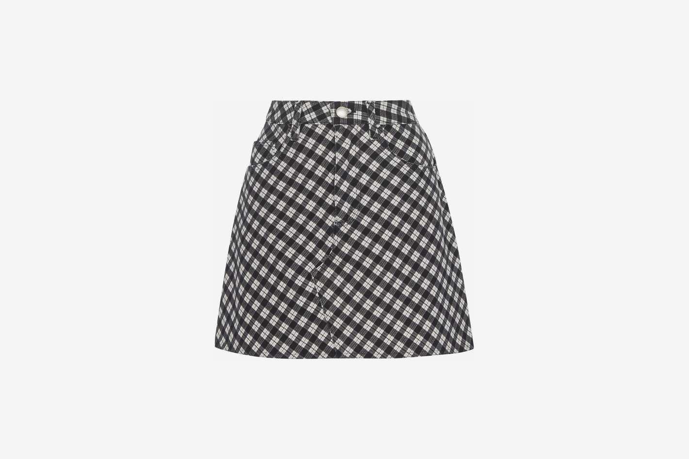 ALEXACHUNG Checkered Cotton-Blend Mini-Skirt