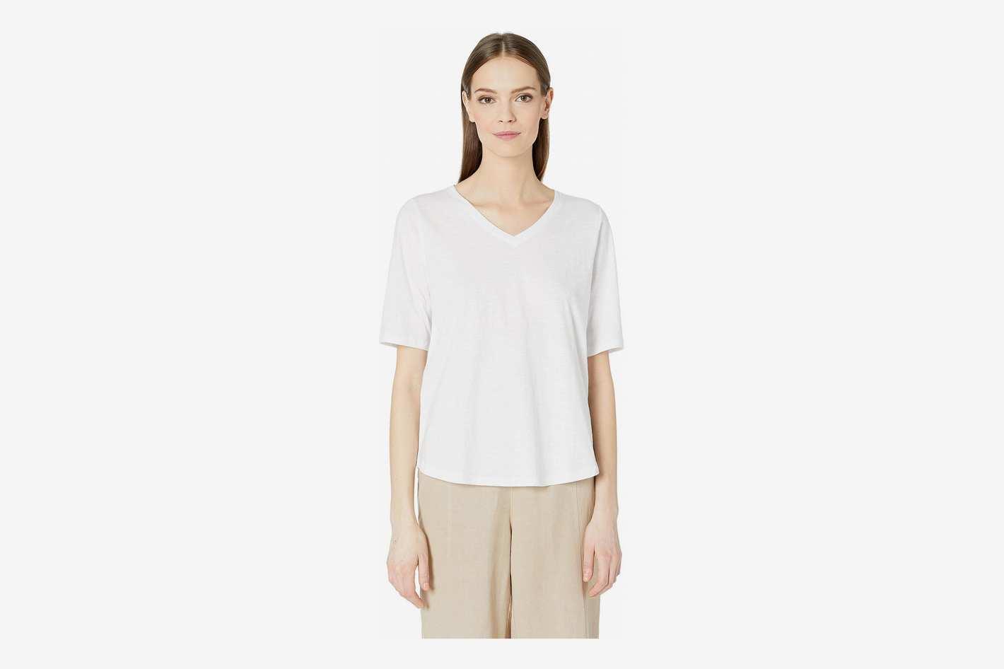 Eileen Fisher Organic Cotton Slub V-Neck Top