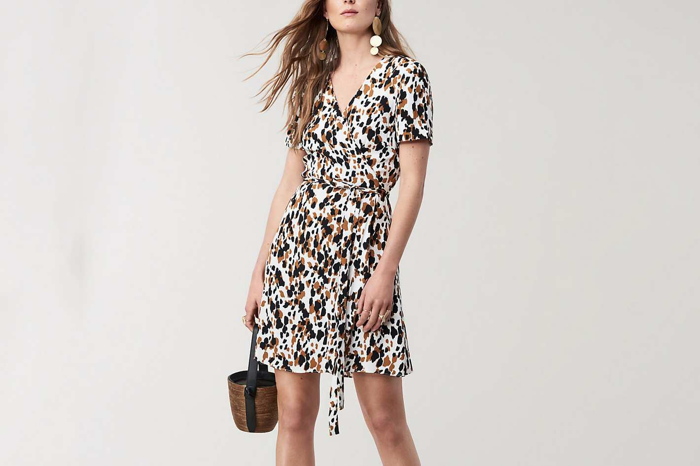 Diane von Furstenberg Savilla Mini Wrap Dress, Apaloosa Chestnut