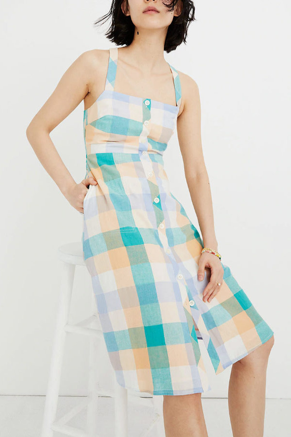 Madewell Tank Button-Front Midi Dress in Rainbow Check