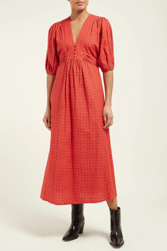 M.I.H Jeans  Avery tulip-printed cotton-blend midi dress
