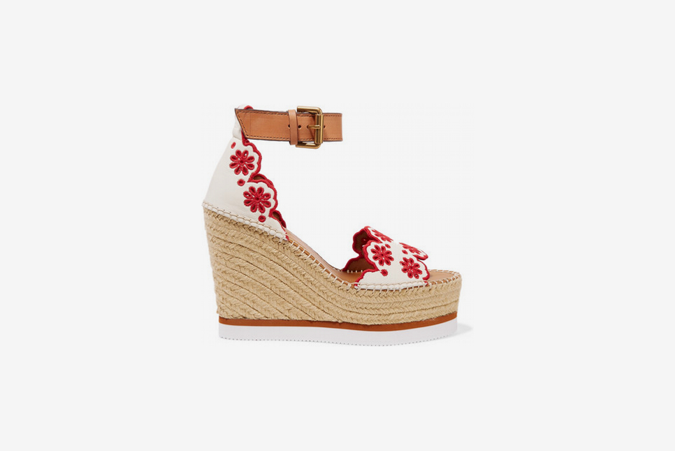 See By Chloe Embroidered Laser-Cut Espadrille Wedge Sandals