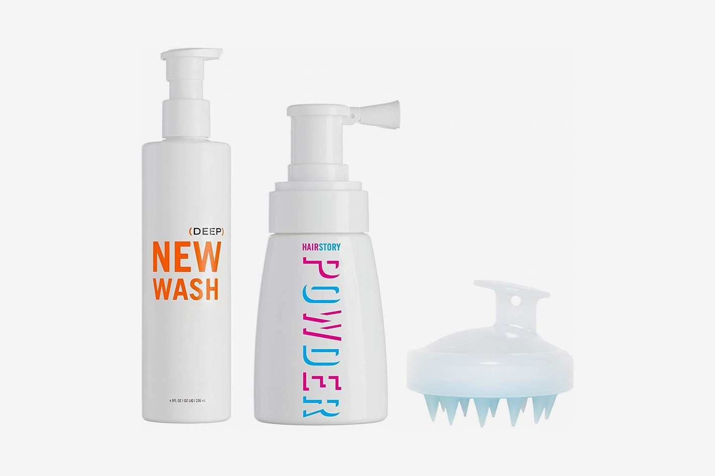 Hairstory New Wash Deep Kit - Hair Cleanser 8 oz + Hair Powder 1.35 oz + In-Shower Brush for Cleansing and Conditioning