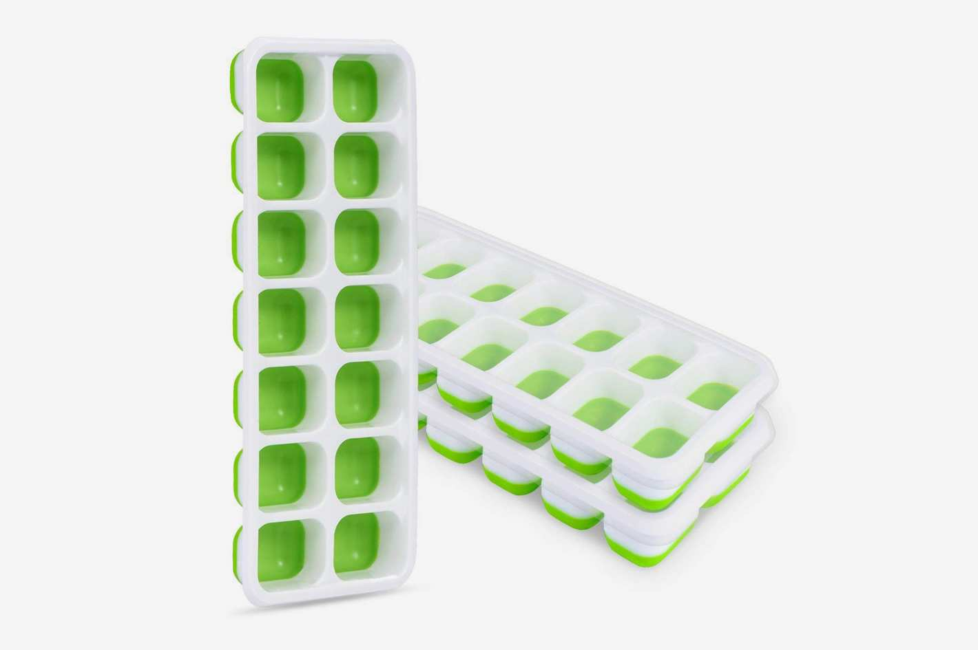 Adoric Life 3 Pack Easy Release Silicone Ice Cube Trays with Spill-Resistant Lids