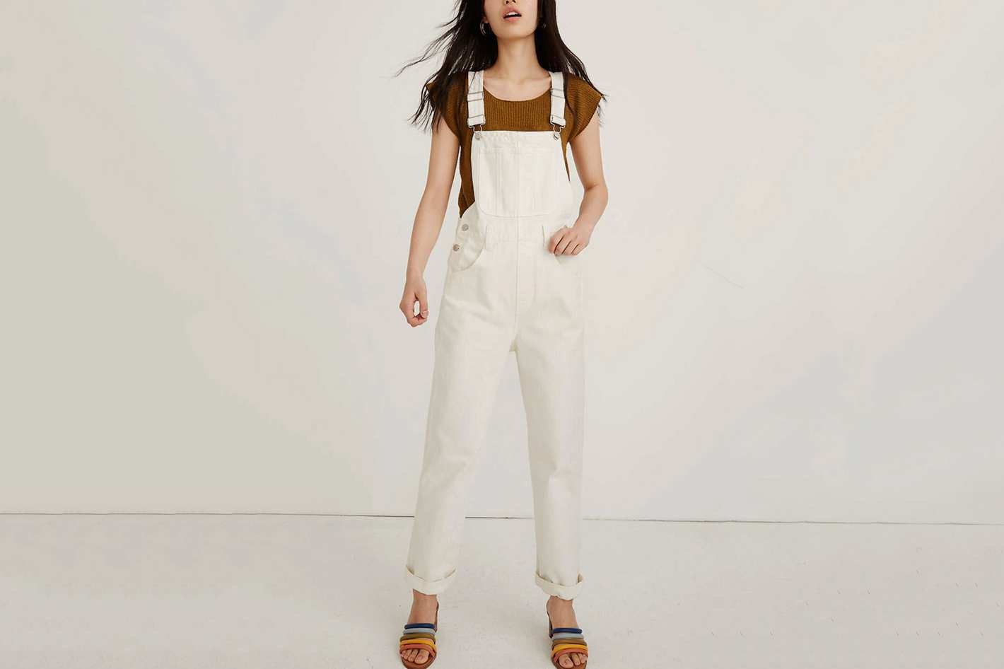 Madewell Straight-Leg Overalls in Tile White