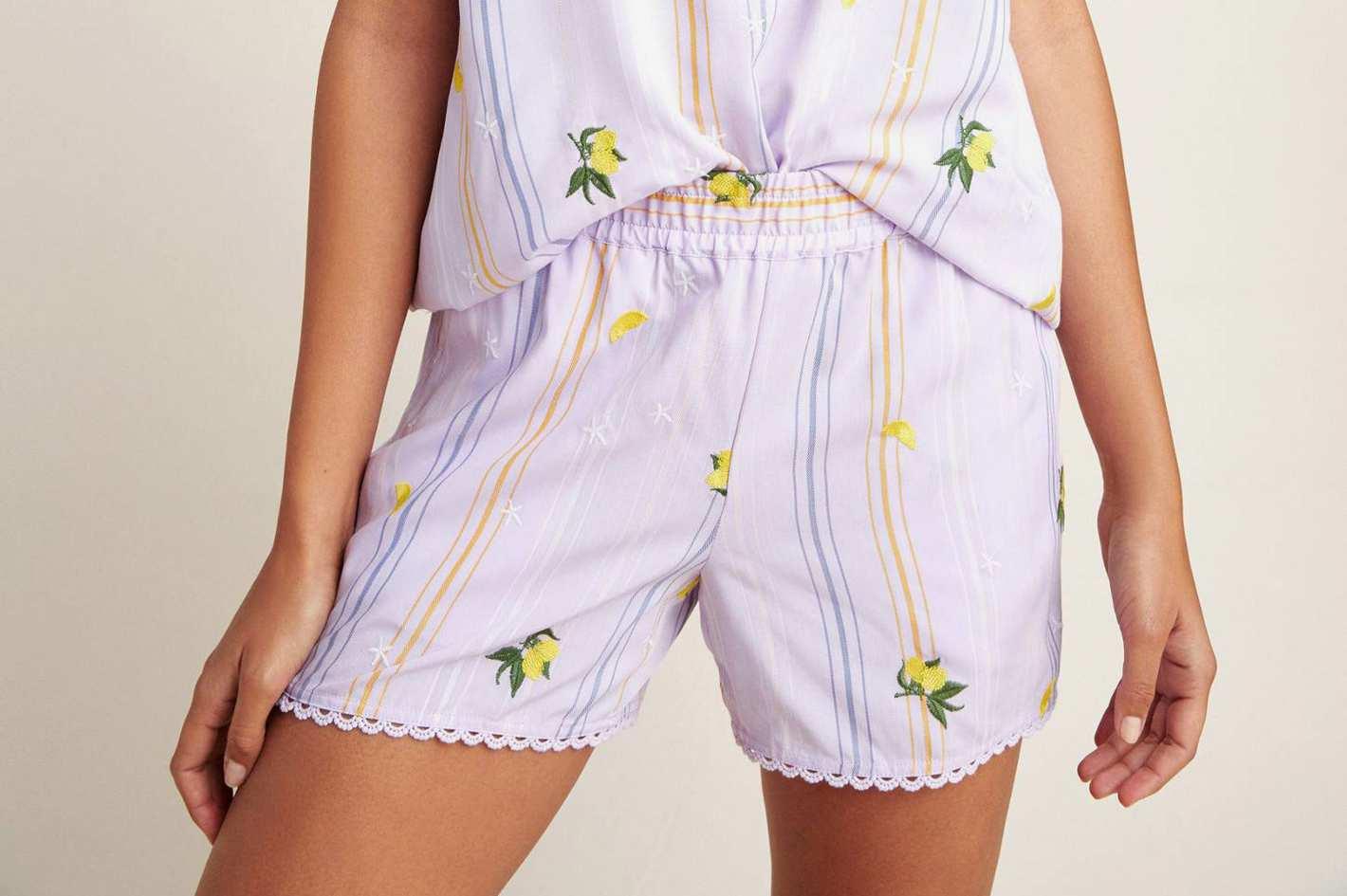 Anthropologie Lemon-Embroidered Sleep Shorts