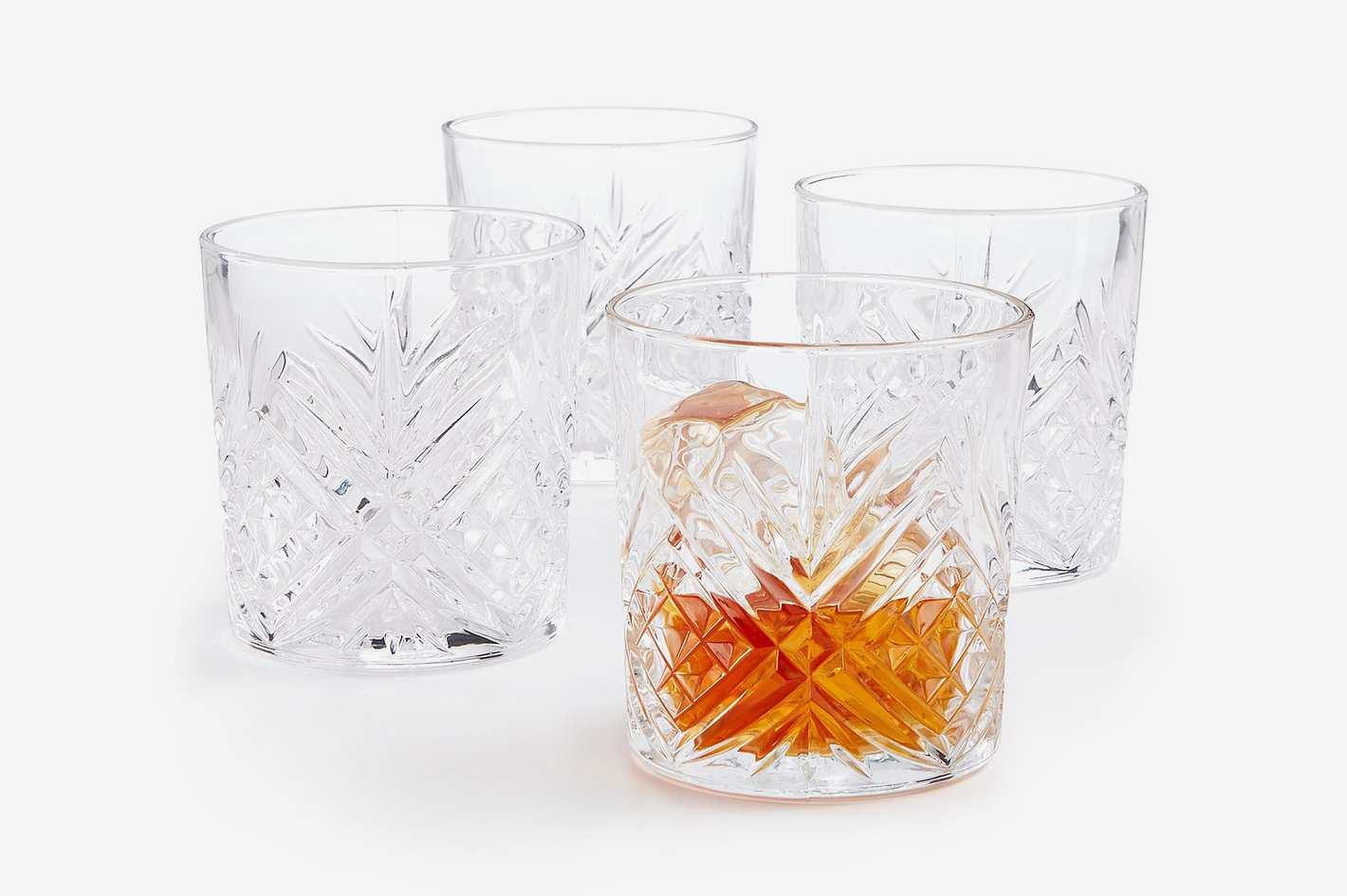 Martha Stewart Collection Set of 4 Cut-Glass Double Old Fashion Glasses