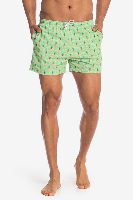 Bermies Swim Shorts, Pineapple Print