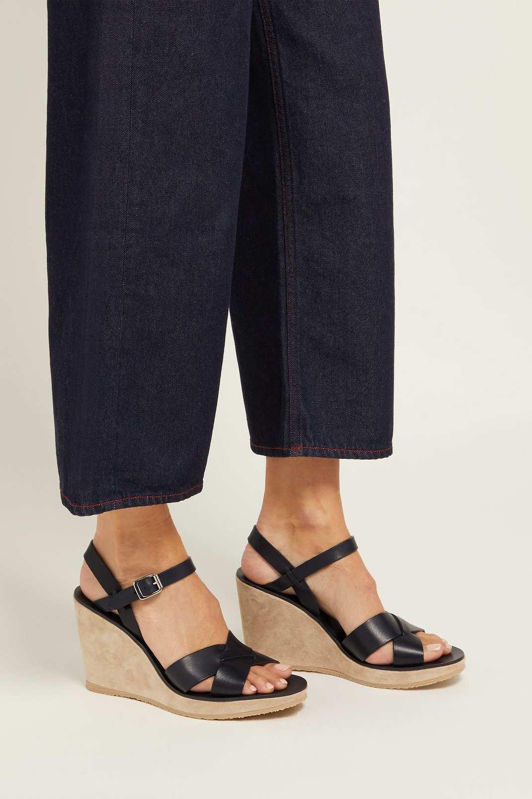 A.P.C. Juliette Leather Wedge Sandals