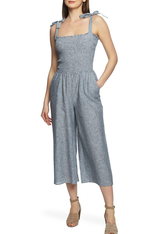 1. State Boardwalk Stripe Smocked Linen & Cotton Jumpsuit