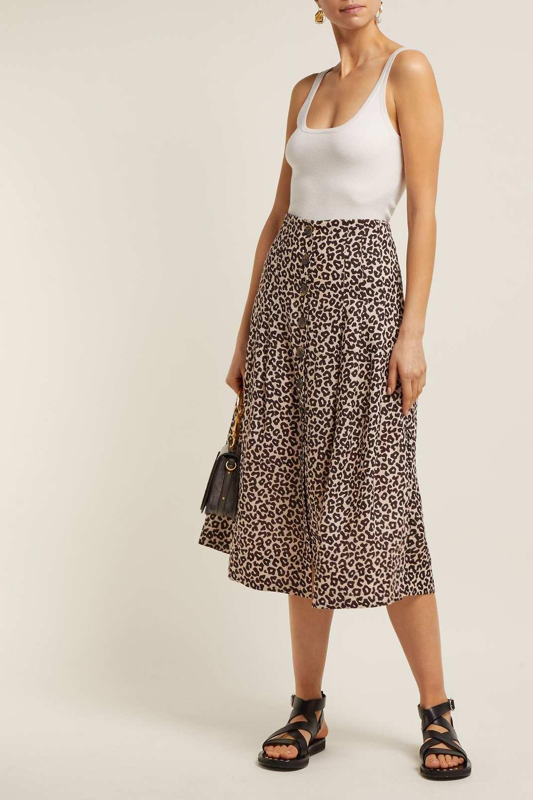 Sea Lottie Leopard Print Button Skirt