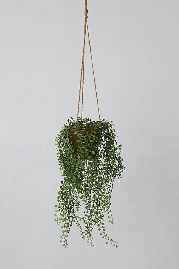 Anthropologie Faux Potted Hanging Plant