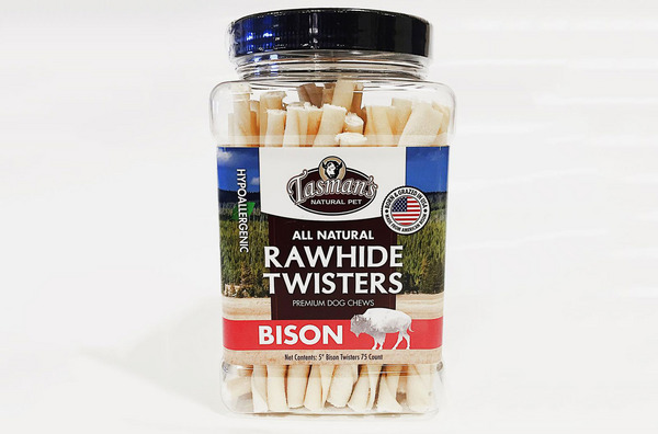 Tasman's Natural Pet Small Bison Rawhide Twisters, 75 Count