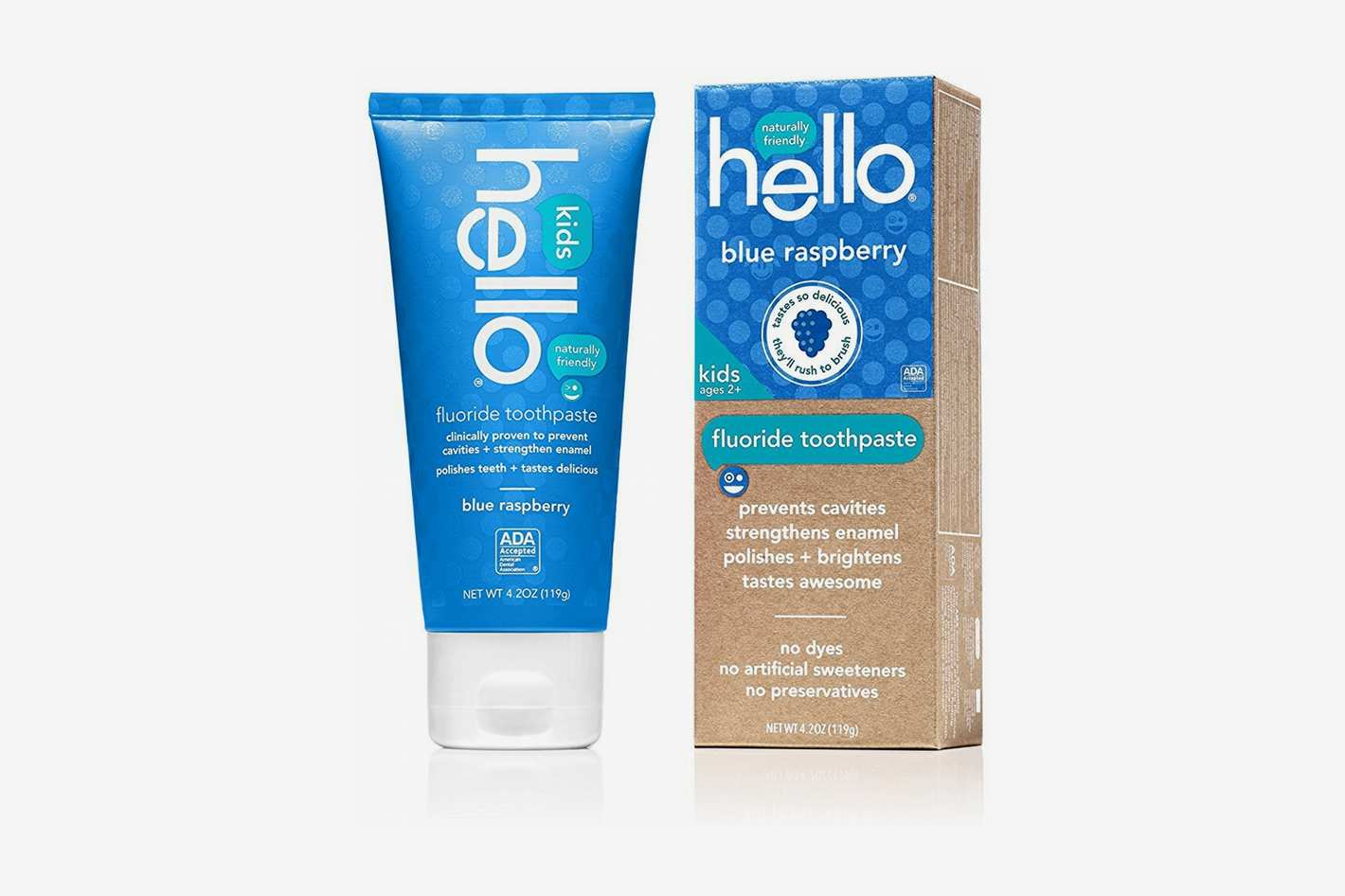 Hello Oral Care Toothpaste for Kids, Blue Raspberry (Pack of 4)