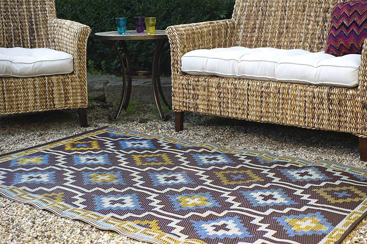 Fab Habitat Reversible, Indoor/Outdoor Floor Mat/Rug (5' x 8', Lhasa - Royal Blue & Chocolate Brown)