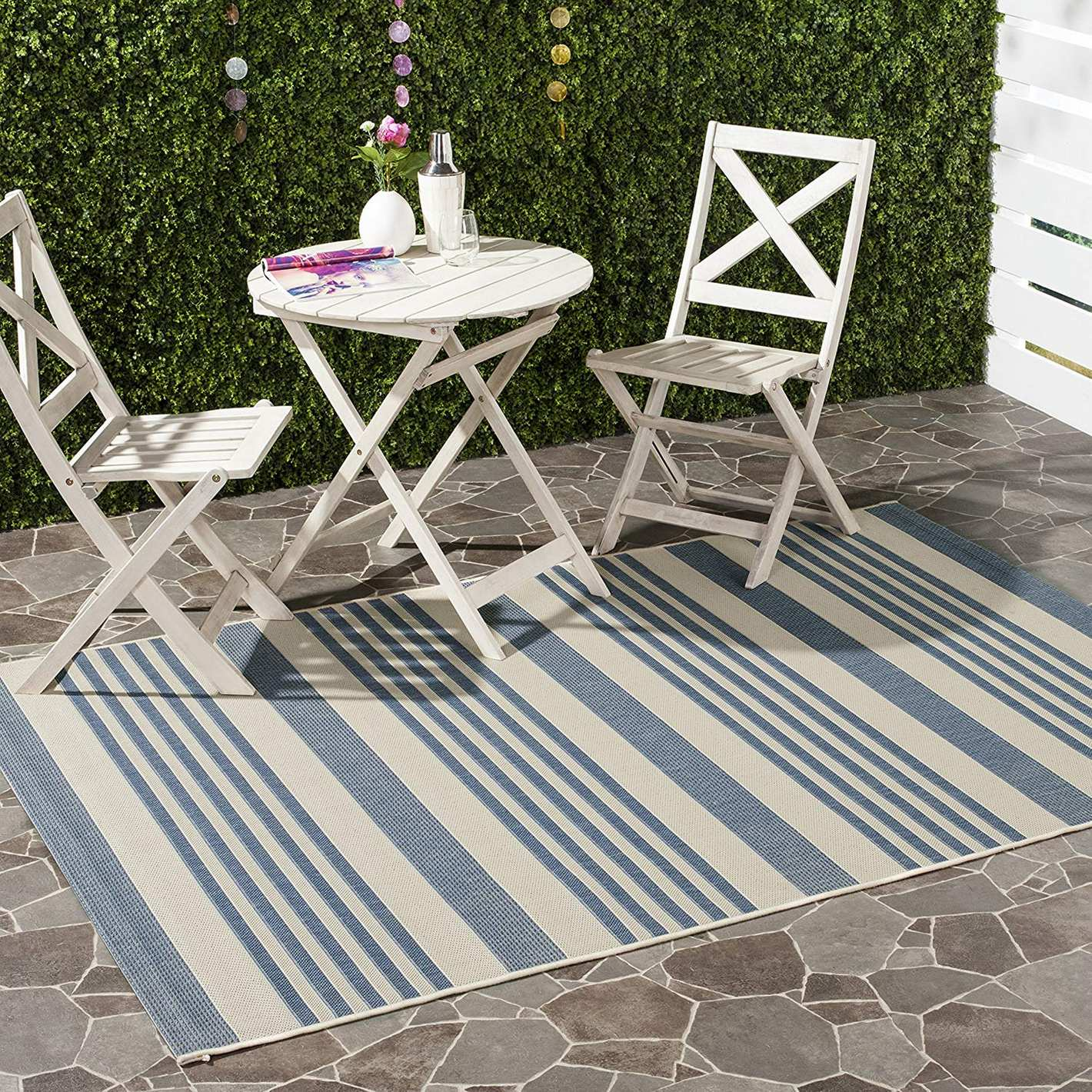 """Safavieh Courtyard Collection CY6062-233 Beige and Blue Indoor/Outdoor Area Rug (5'3"""" x 7'7"""")"""