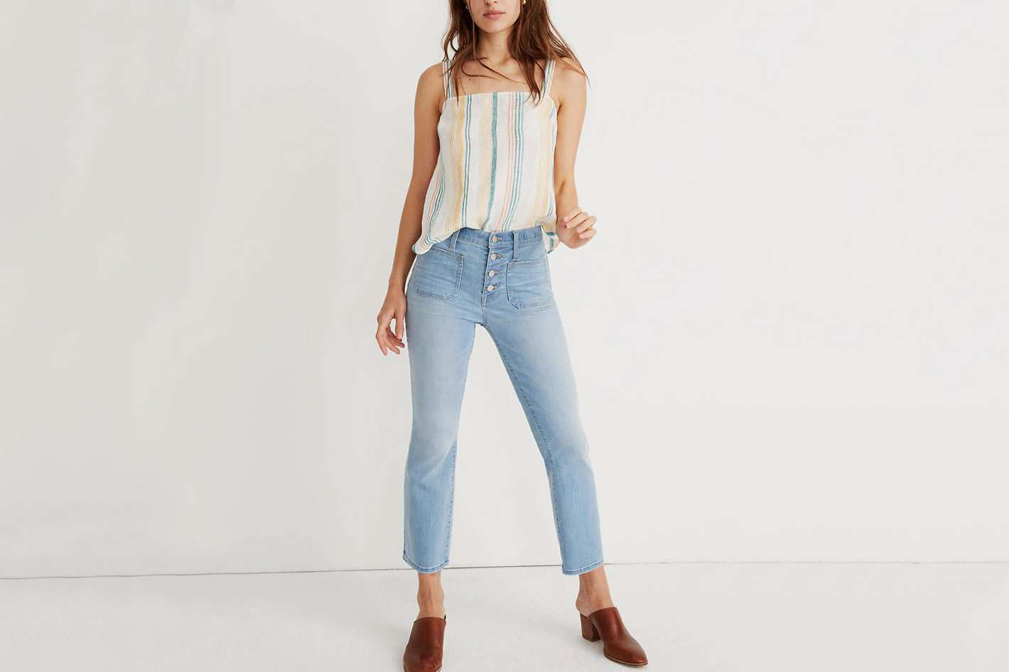b52445c1caa35 Madewell Cali Demi-Boot Jeans in Quince Wash: Button-Front Edition