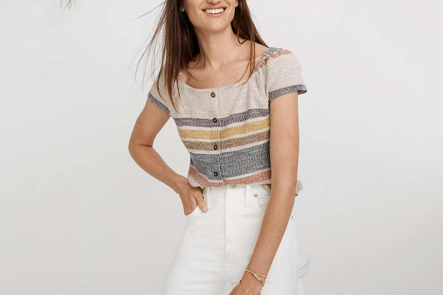 Madewell Texture & Thread Button-Front Top in Stripe