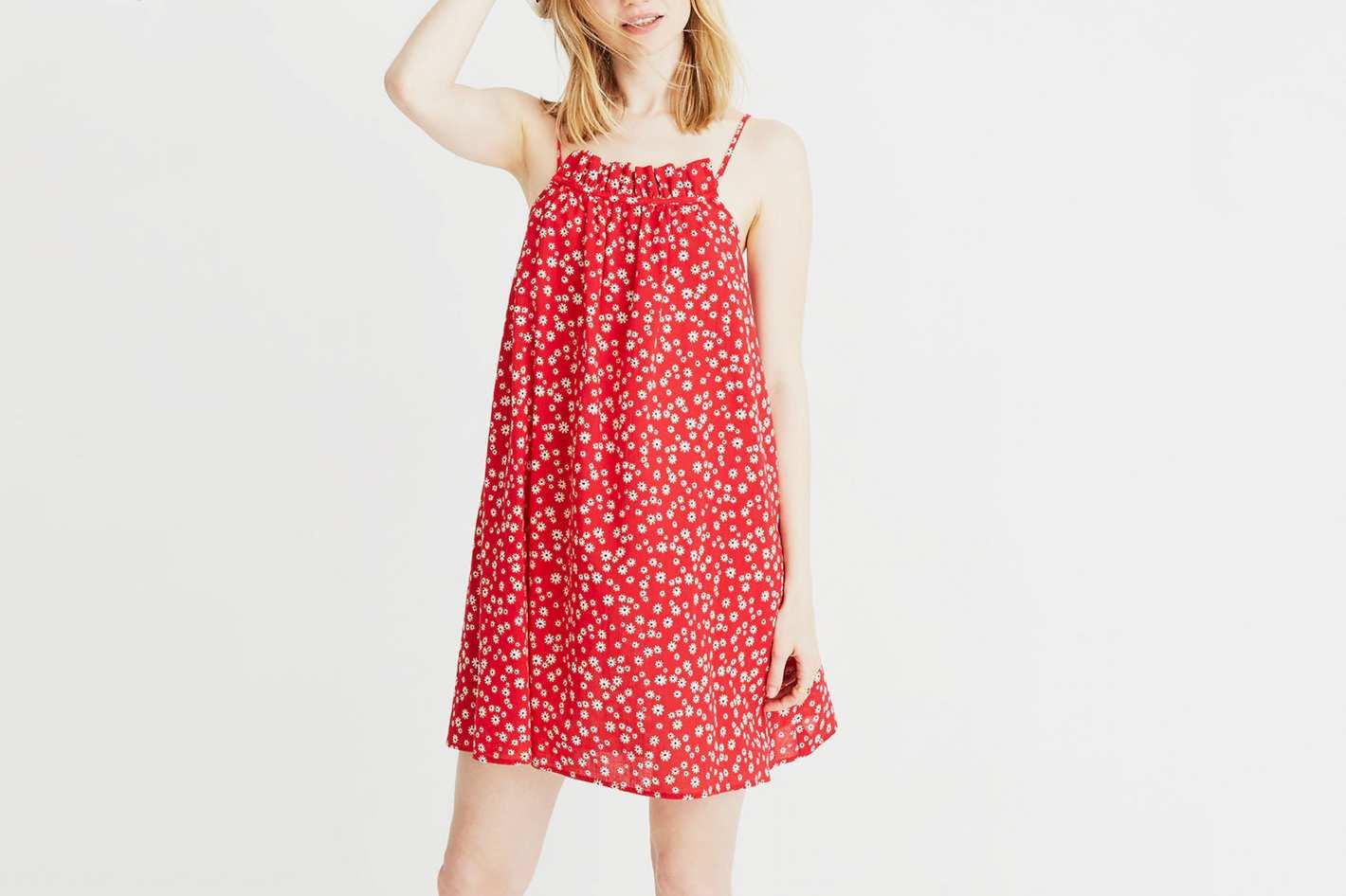 Madewell Ruffle-Neck Cover-Up Mini Dress in Daisy Field