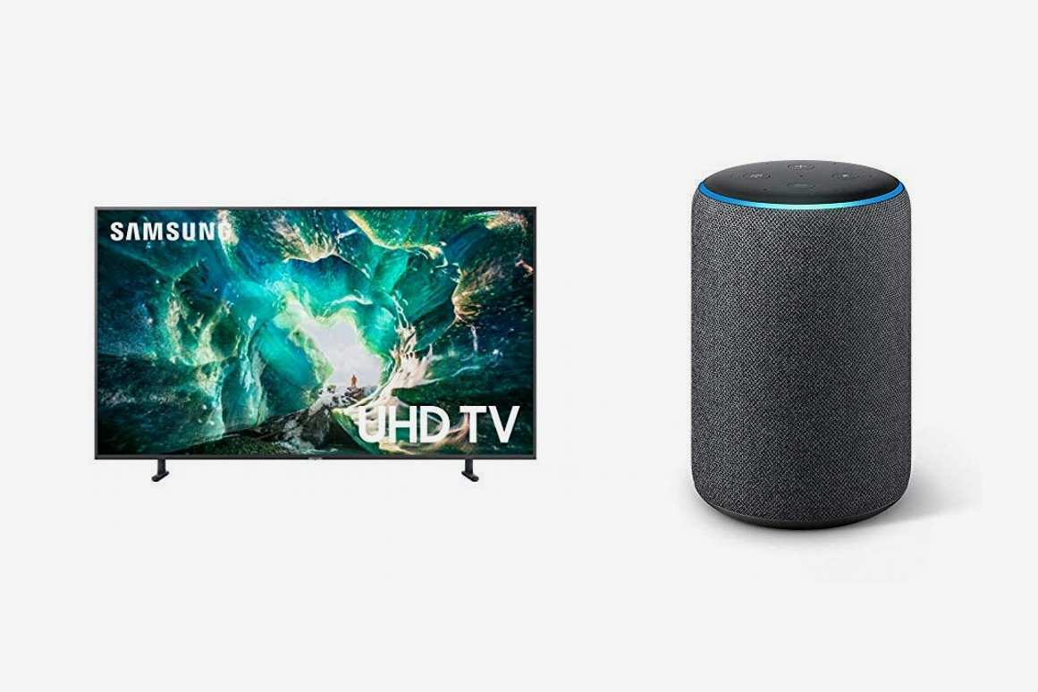 Samsung Flat 55'' 4K UHD 8 Series Smart TV (2019) with Echo Plus (2nd Gen) Bundle- Alexa Smart Home Starter kit - Charcoal