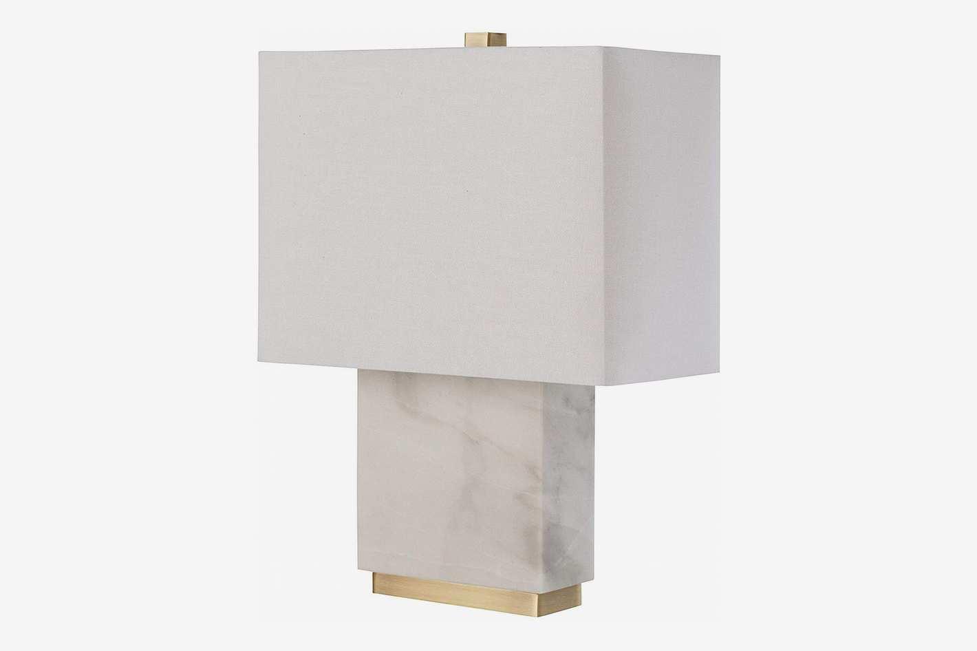 Rivet Mid-Century Modern Rectangle Table Lamp With LED Light Bulb