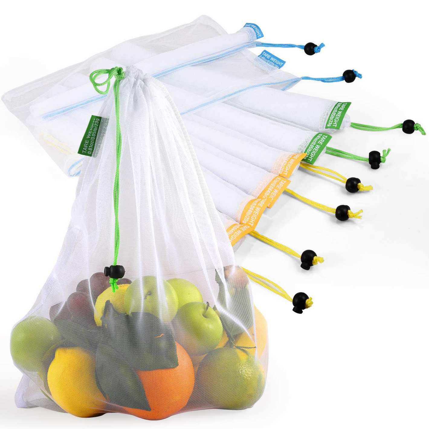 Reusable Produce Bags, Lavinrose Reusable Mesh Produce Bags with Drawstring & Tare Weight Tags