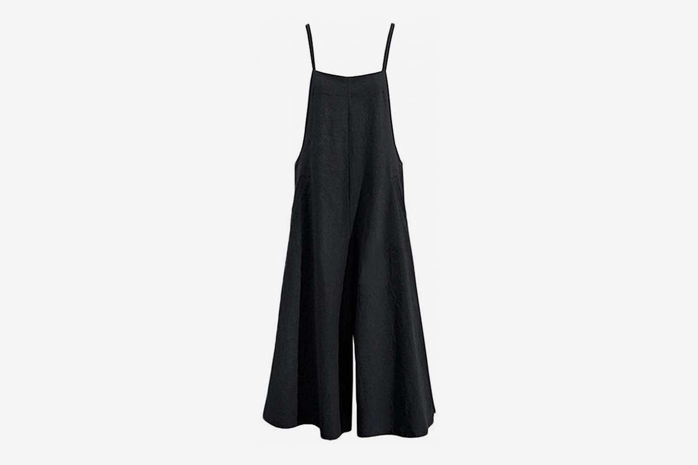 YESNO Women Casual Linen Cropped Bib Pants Wide Leg Jumpsuit