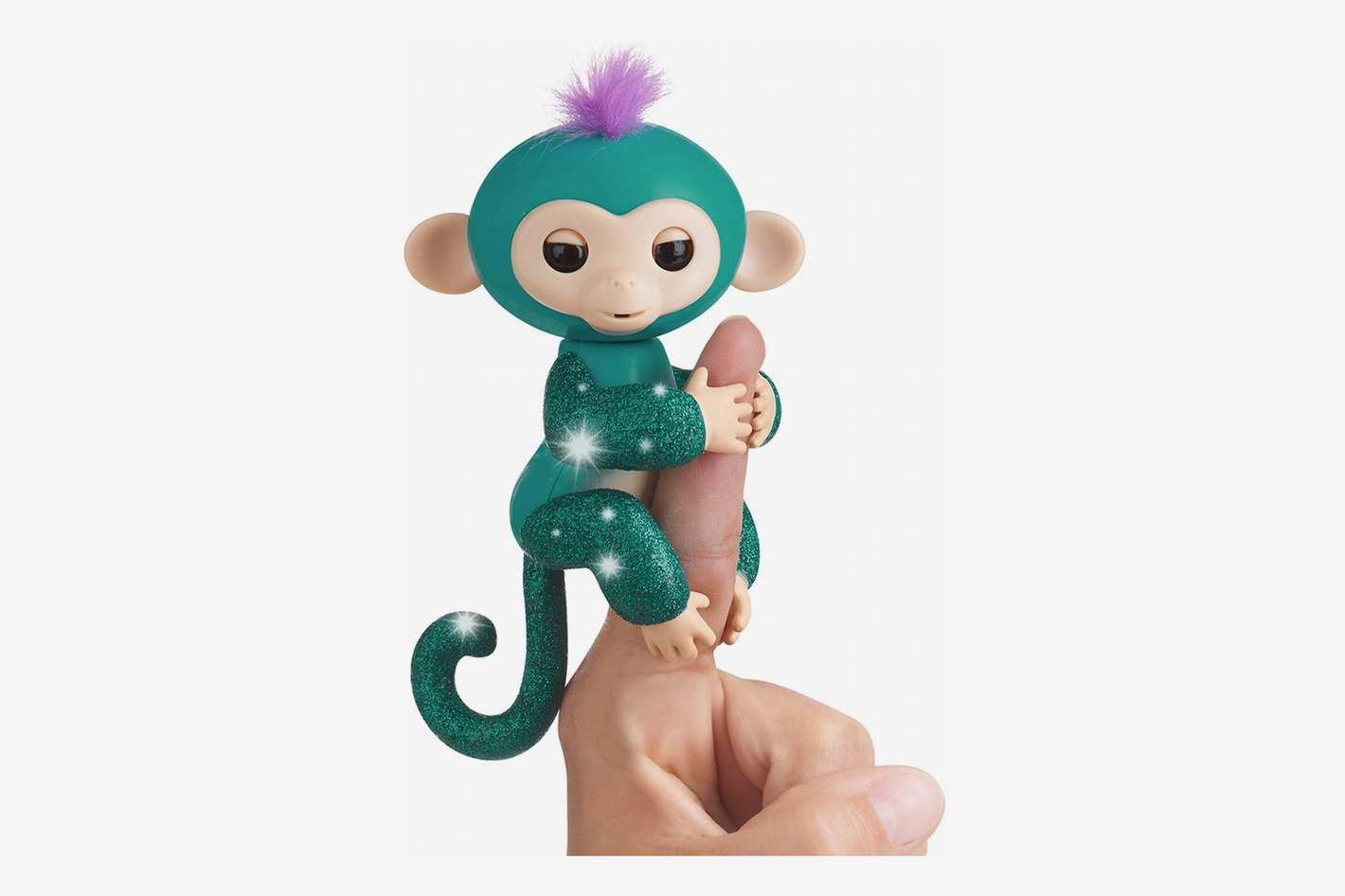Fingerlings Glitter Monkey - Quincy - Teal Glitter - Interactive Baby Pet
