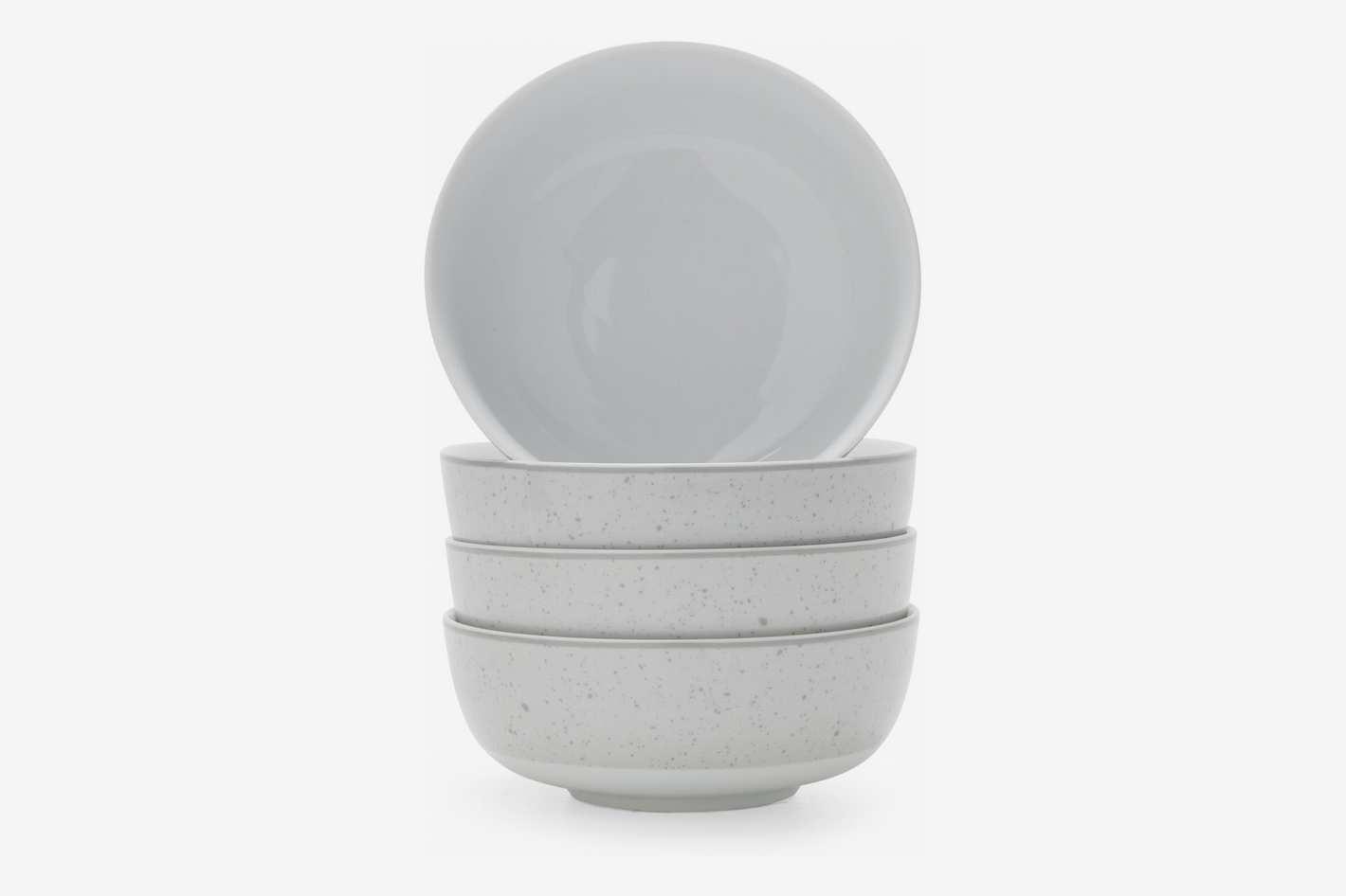 MoDRN Industrial Speckle 4 Piece Bowl Set, Grey
