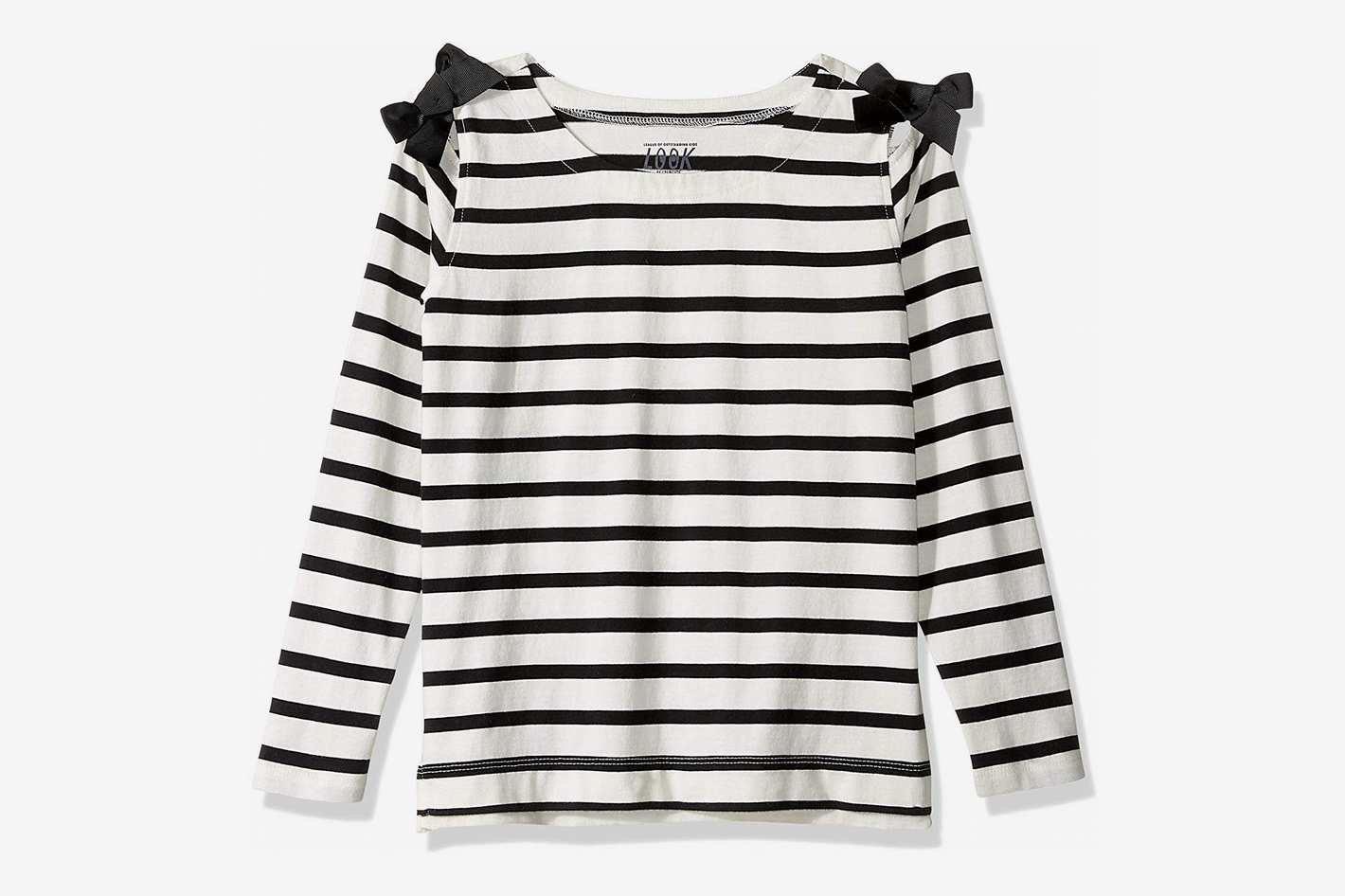 LOOK by crewcuts Girls' 3/4 Sleeve Bow Shoulder Top