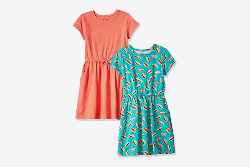Spotted Zebra Girls' Toddler & Kids 2-Pack Knit Short-Sleeve Cinch Waist Dresses