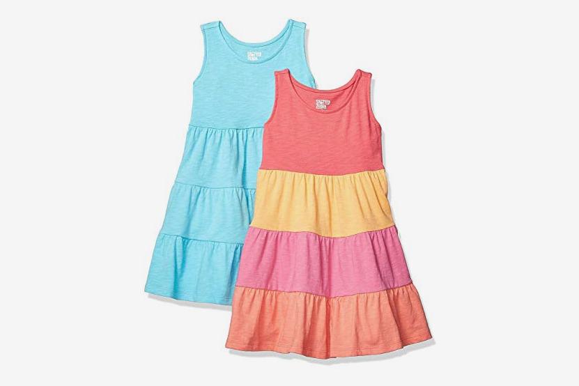 Spotted Zebra Girls' Toddler & Kids 2-Pack Knit Sleeveless Tiered Dresses