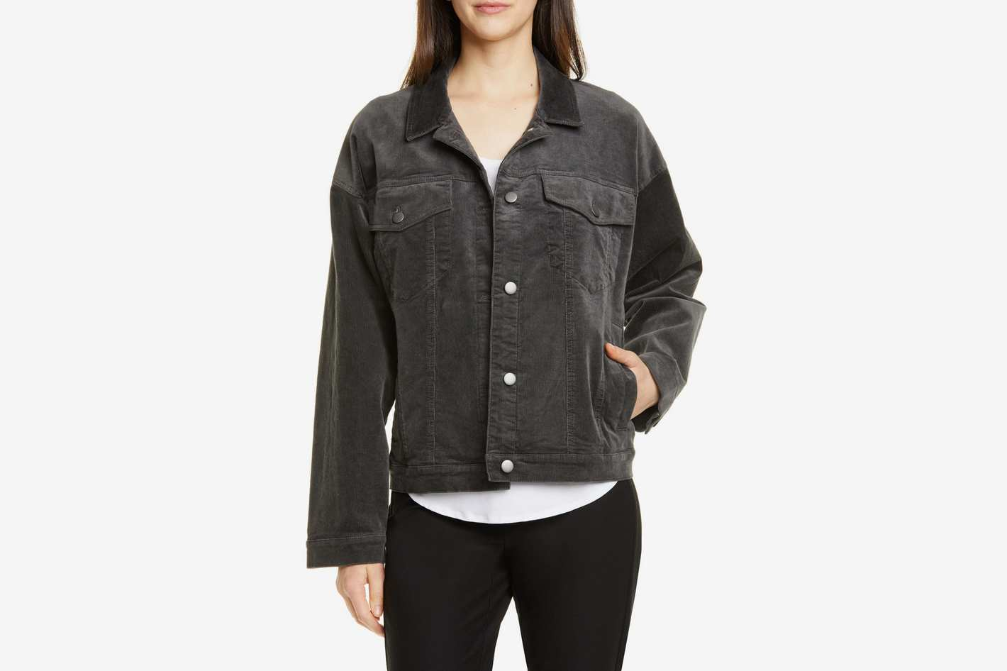 Eileen Fisher Cotton Blend Corduroy Trucker Jacket