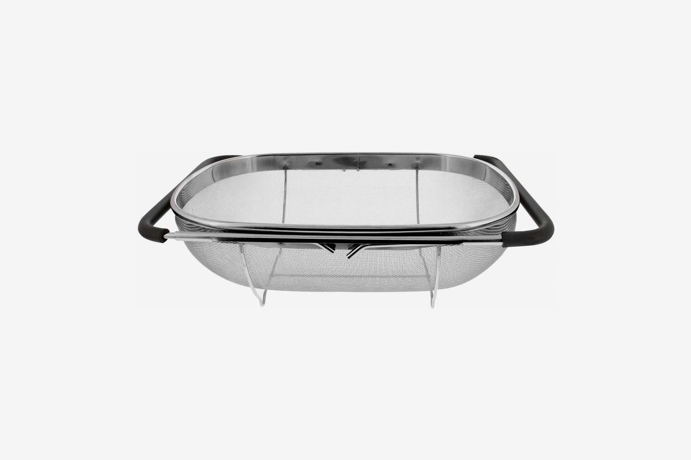 U.S. Kitchen Supply Over The Sink Stainless Steel Colander with Expandable Rubber Grip Handles