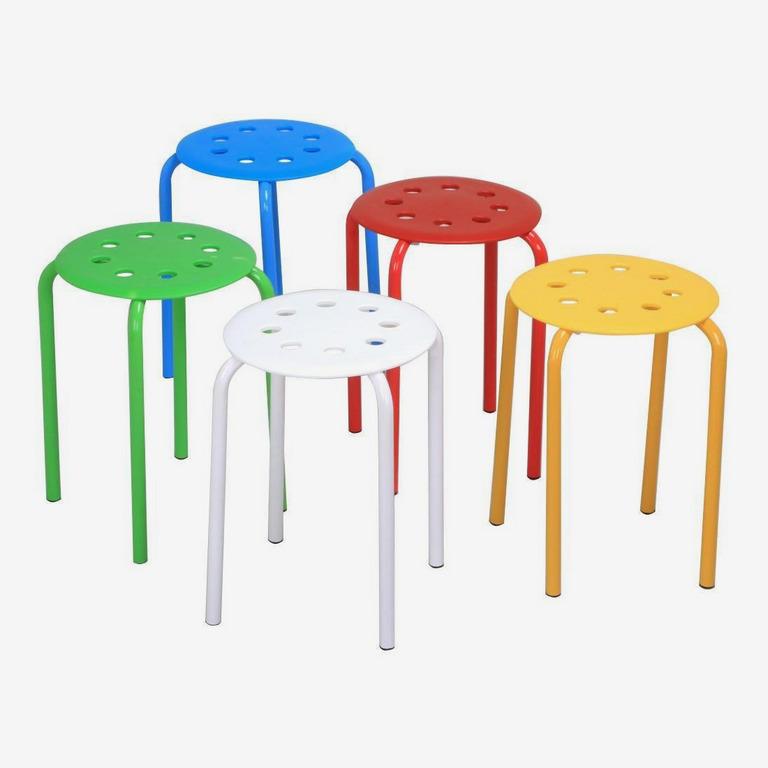 Topeakmart Multicolor Set of 5 Plastic Stack Stools
