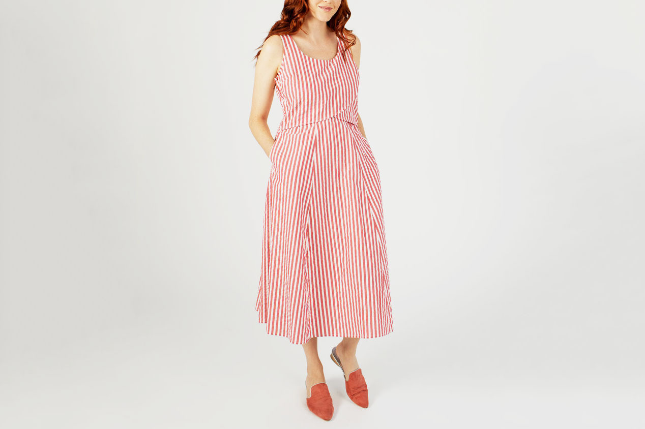 Madri Collection Crossover Dress in Red Seersucker