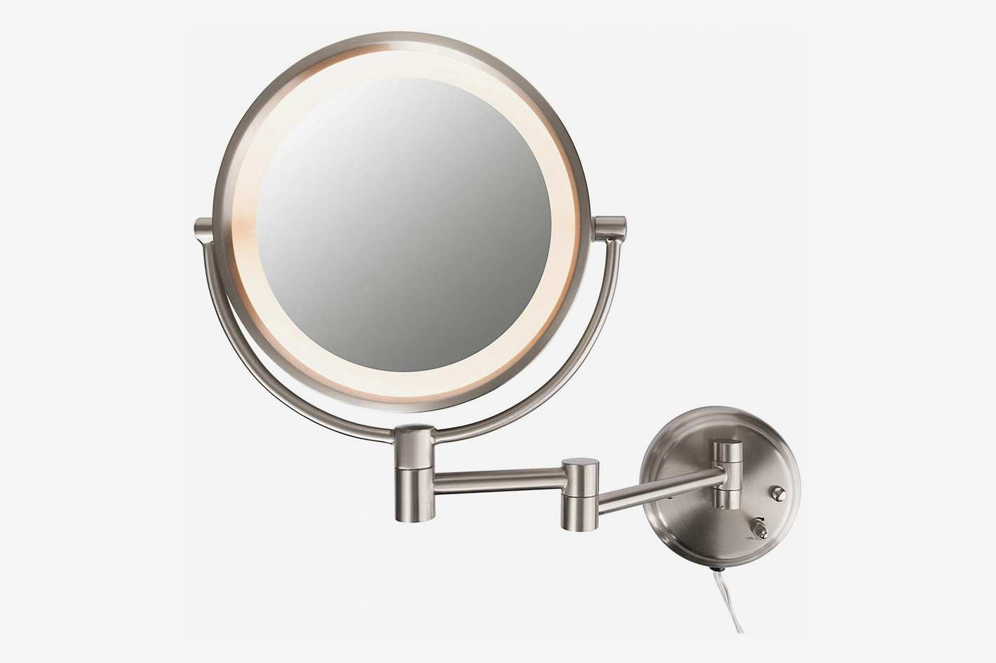 Conair Round Shaped Double-Sided Wall Mount Lighted Makeup Mirror