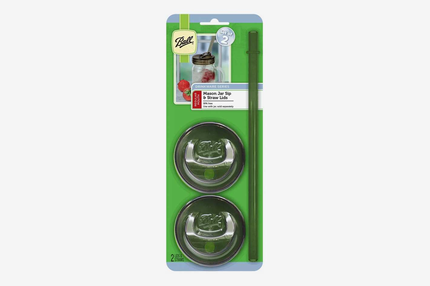 Ball Set of 2 Mason Jar Sip and Straw Lids - Regular Mouth