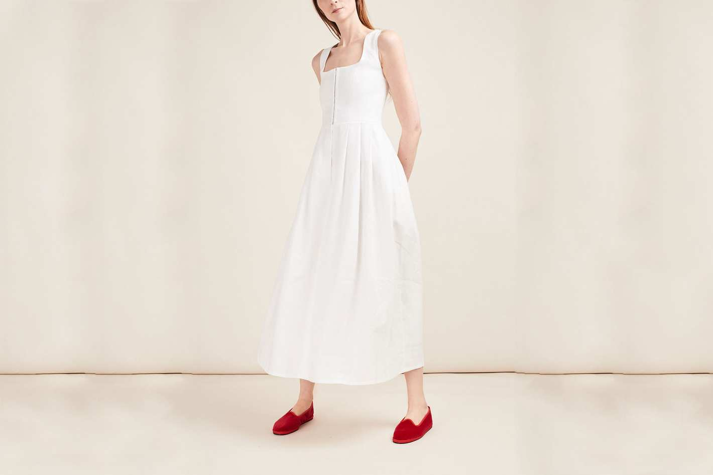 Gioia Bini White Midi Linen Dress