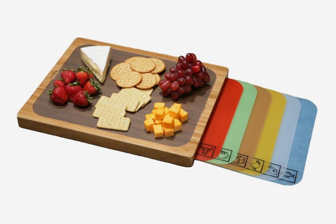 Seville Classics Easy-to-Clean Bamboo Cutting Board and 7 Color-Coded Flexible Cutting Mats