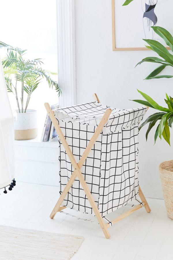 Grid Printed Folding Hamper