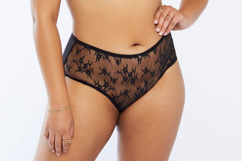 Savage X Fenty Women's Curvy Sheer Lace High-Waist Brief