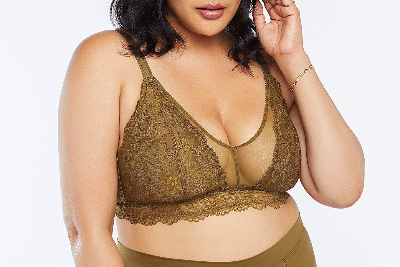 Savage X Fenty Women's Curvy Floral Lace and Mesh Bralette