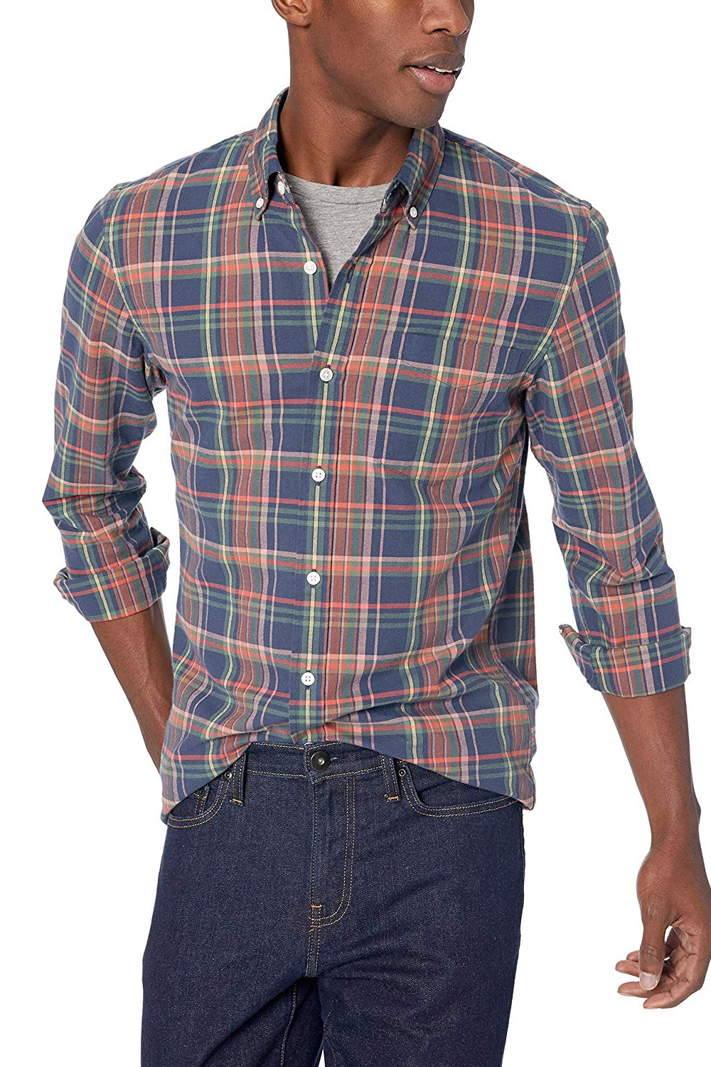 Goodthreads Men's Slim-Fit Long-Sleeve Plaid Oxford Shirt
