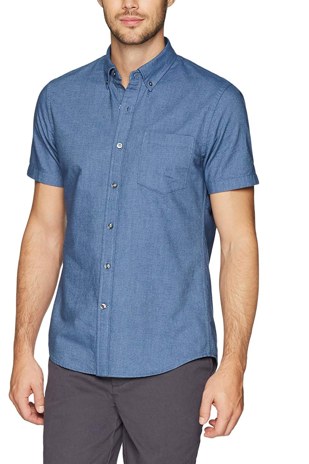 Goodthreads Men's Slim-Fit Short-Sleeve Solid Oxford Shirt