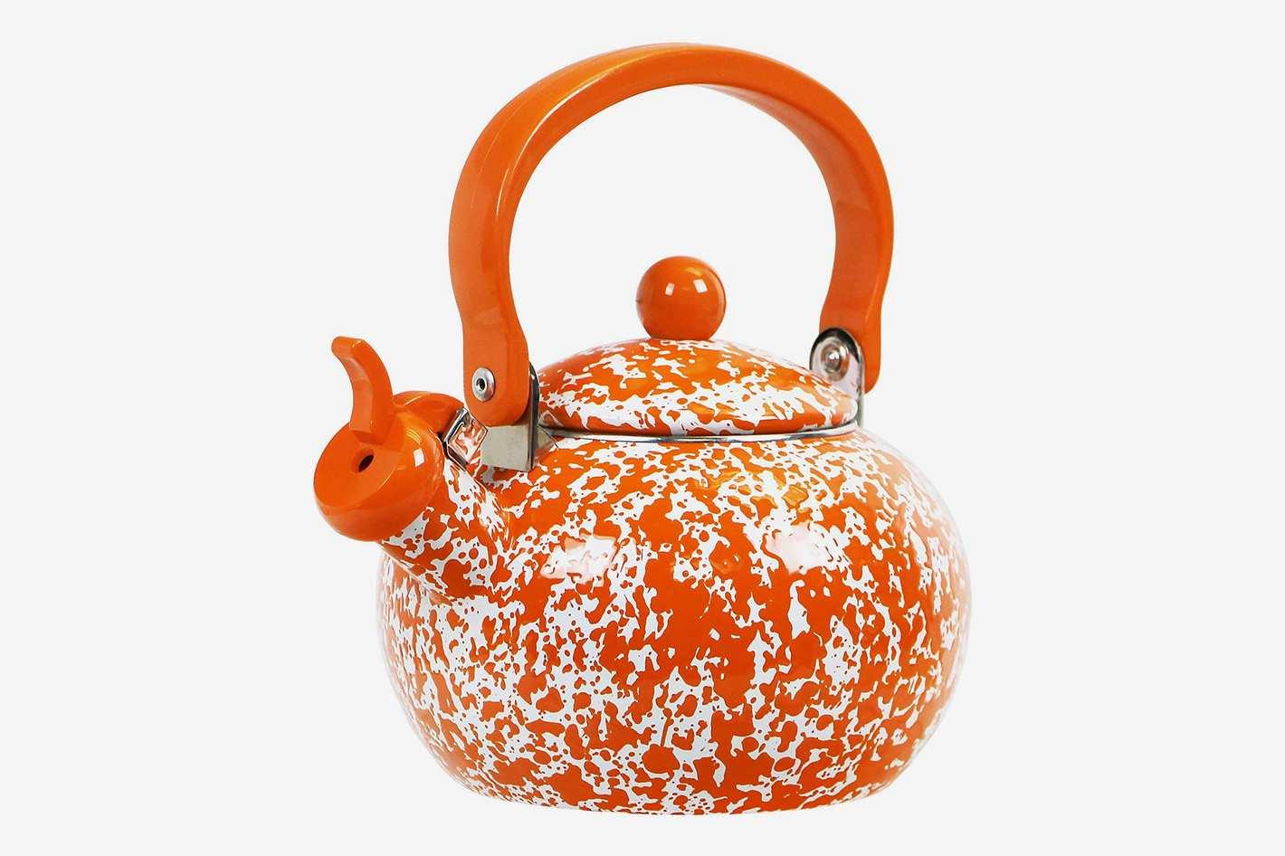 Calypso Basics by Reston Lloyd Whistling Teakettle, 2-Quart, Orange Marble