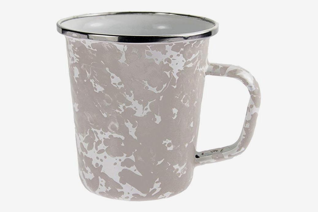 Golden Rabbit Enamelware Taupe Swirl Pattern, 16-Ounce Latte Mug