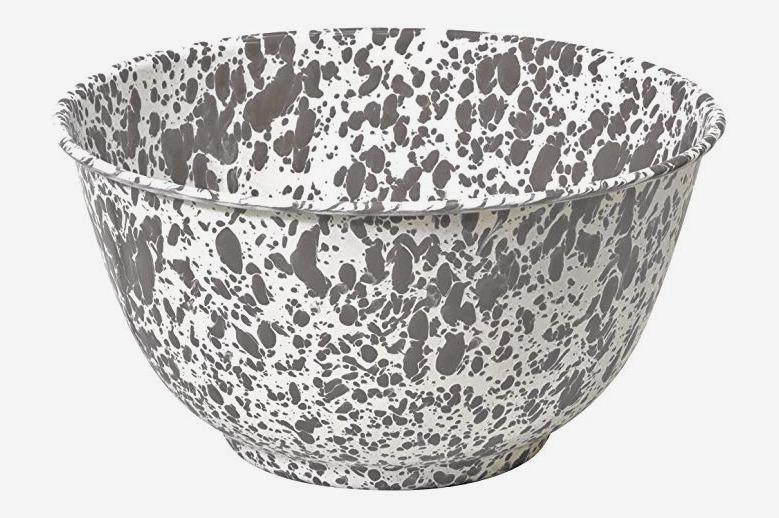 Enamelware Large Salad / Serving Bowl — Gray Marble
