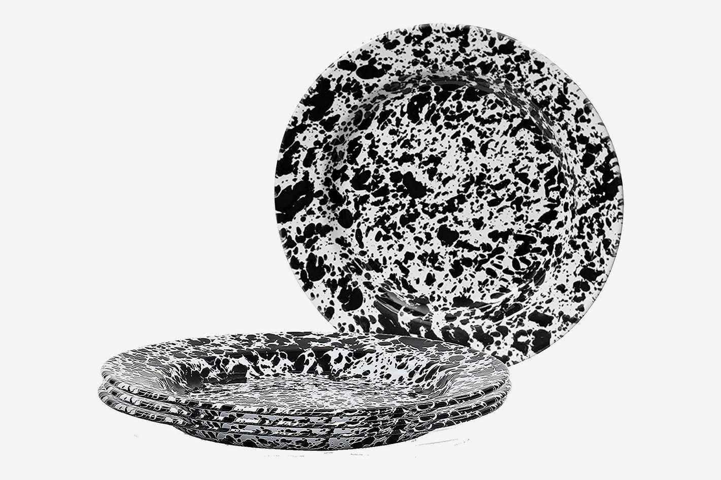 Crow Canyon Home Enamelware Dinner Plate, Black/White Splatter (Set of 4)