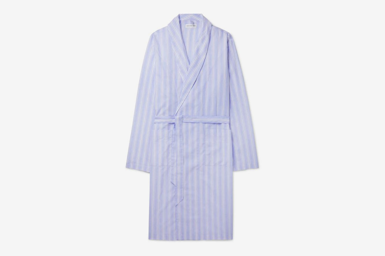 Hamilton and Hare Striped Cotton-and-Linen-Blend Robe